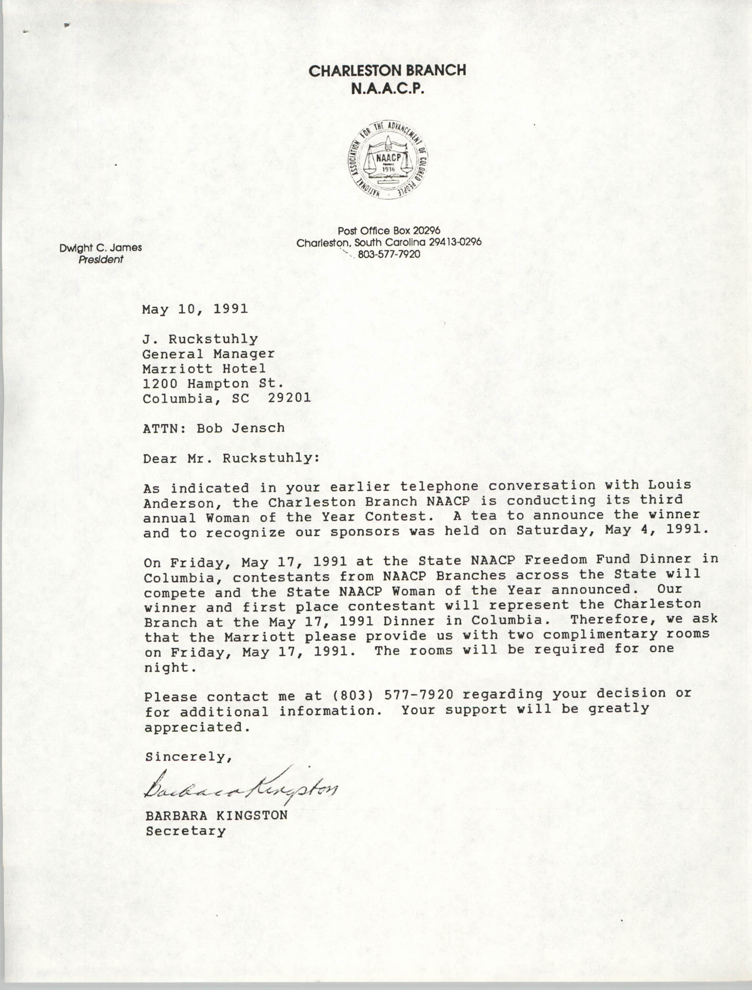 Letter from Barbara Kingston to J. Ruckstuhly, May 10, 1991