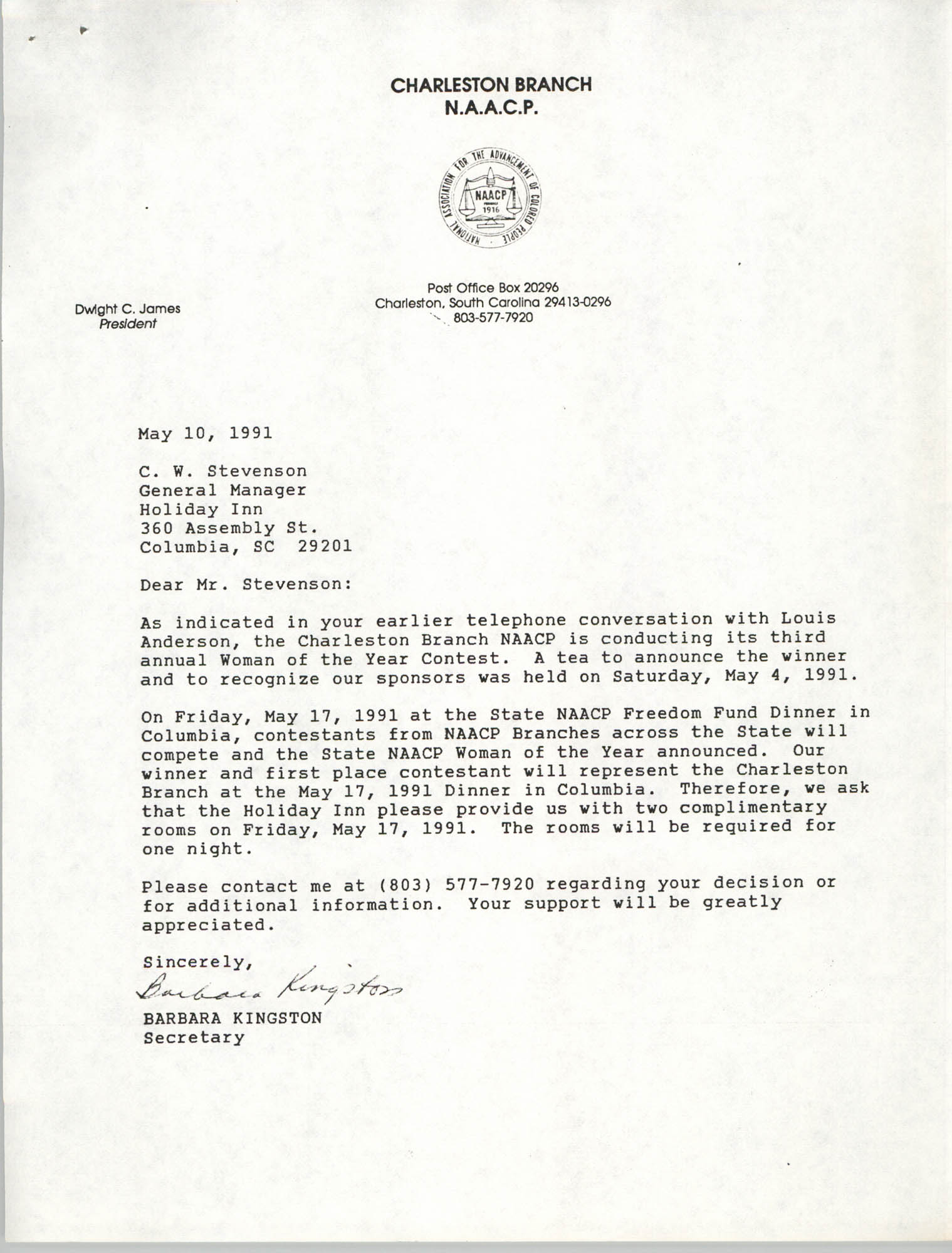 Letter from Barbara Kingston to C. W. Stevenson, May 10, 1991