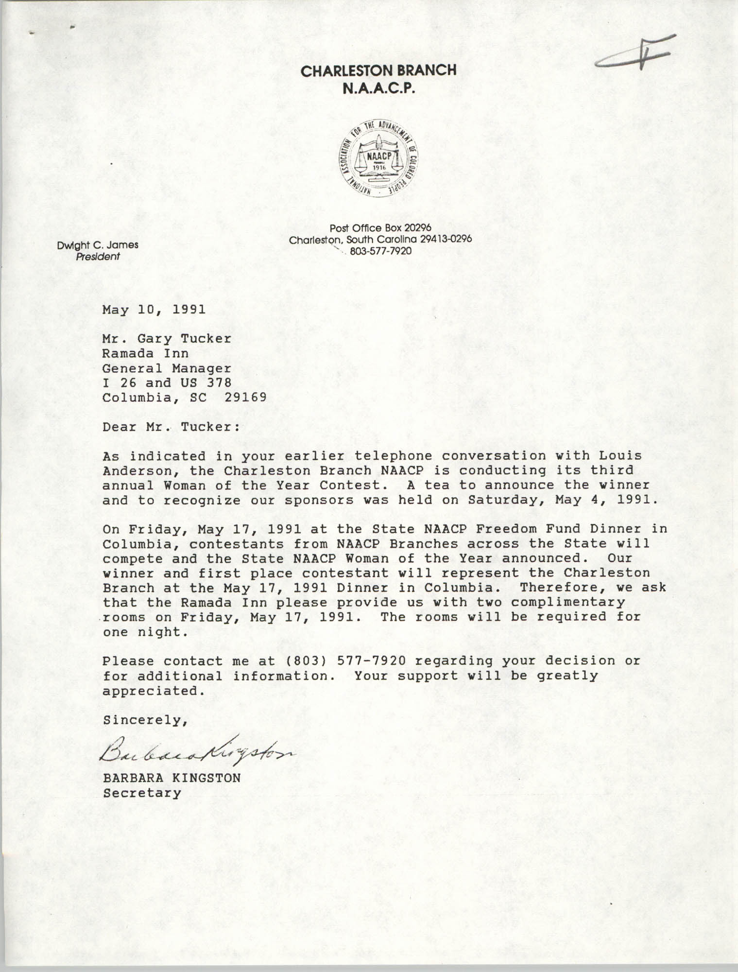 Letter from Barbara Kingston to Gary Tucker, May 10, 1991