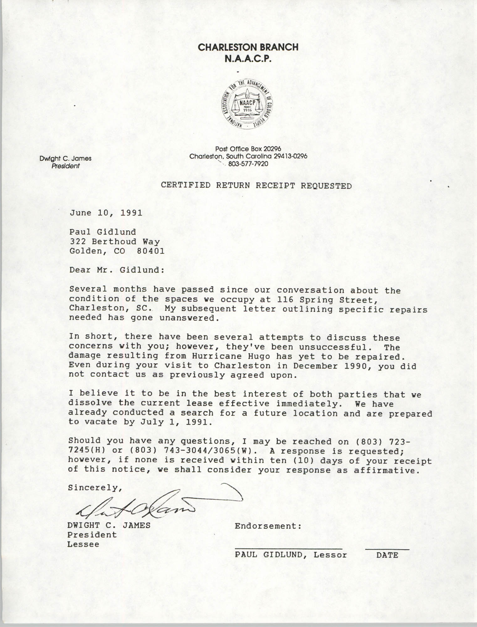Letter from Dwight C. James to Paul Gidlund, June 10, 1991