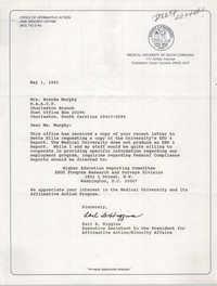 Letter from Earl B. Higgins to Brenda Murphy, May 1, 1991