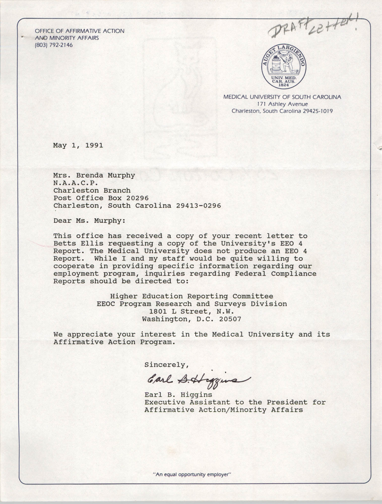 Letter from Earl B. Higgins to Brenda Murphy, May 1, 1991
