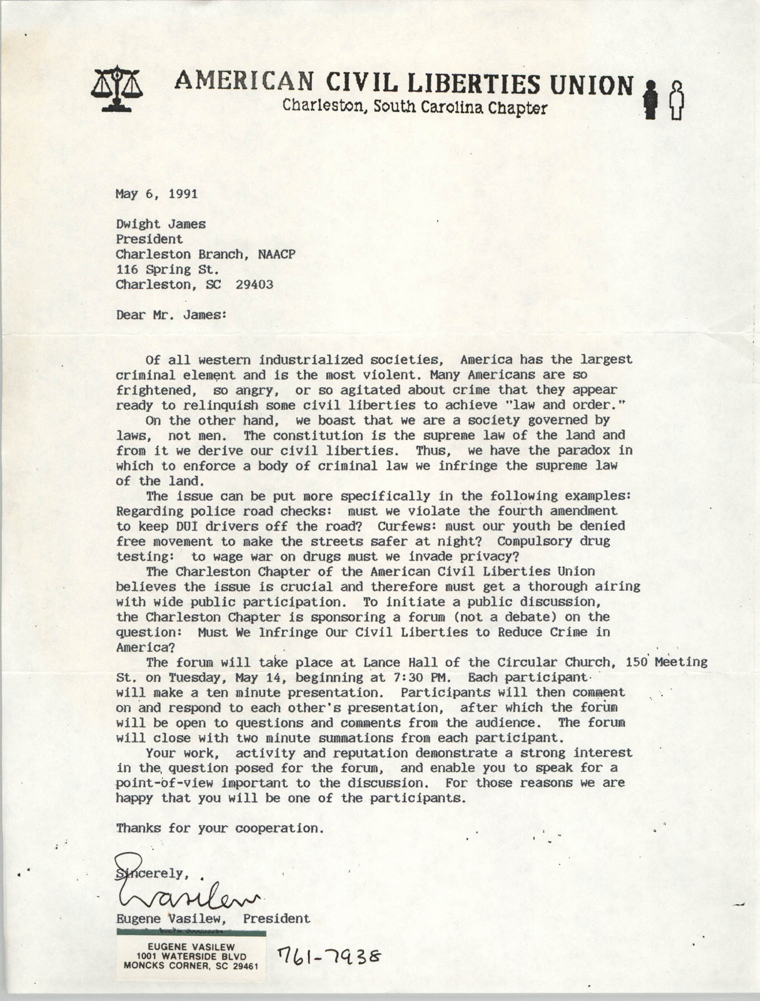 Letter from Eugene Vasilew to Dwight James, May 6, 1991