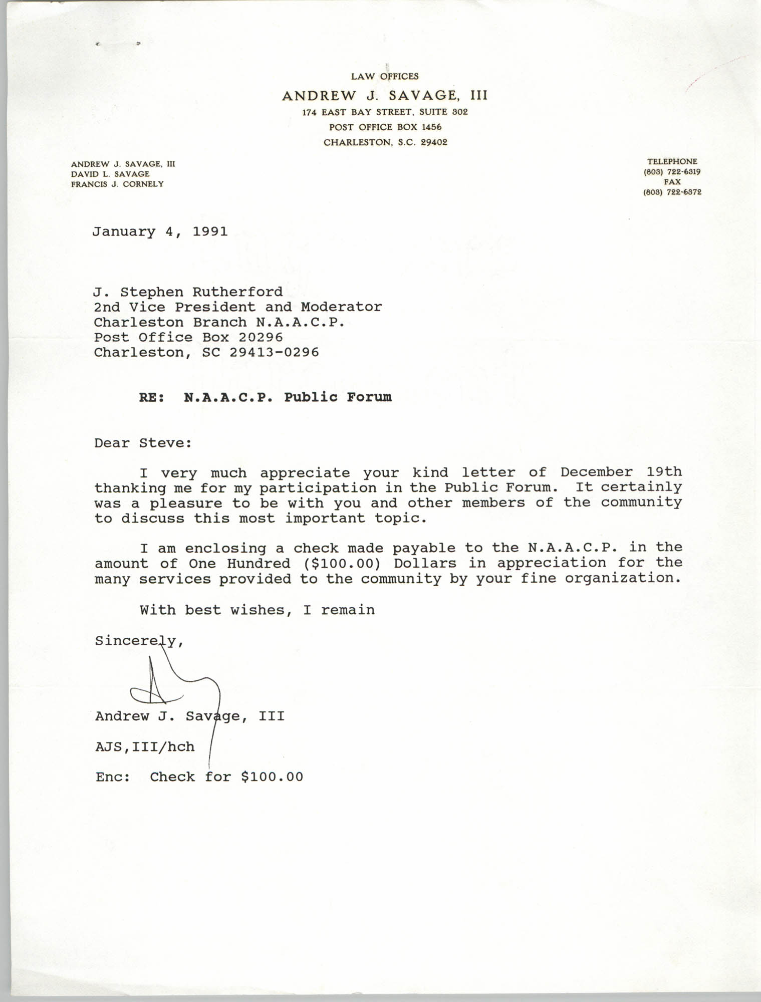 Letter from Andrew J. Savage, III to J. Stephen Rutherford, January 4, 1991