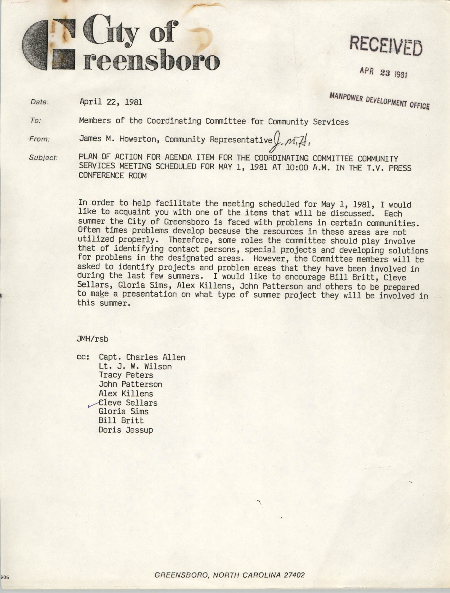 City of Greensboro Memorandum, April 22, 1981