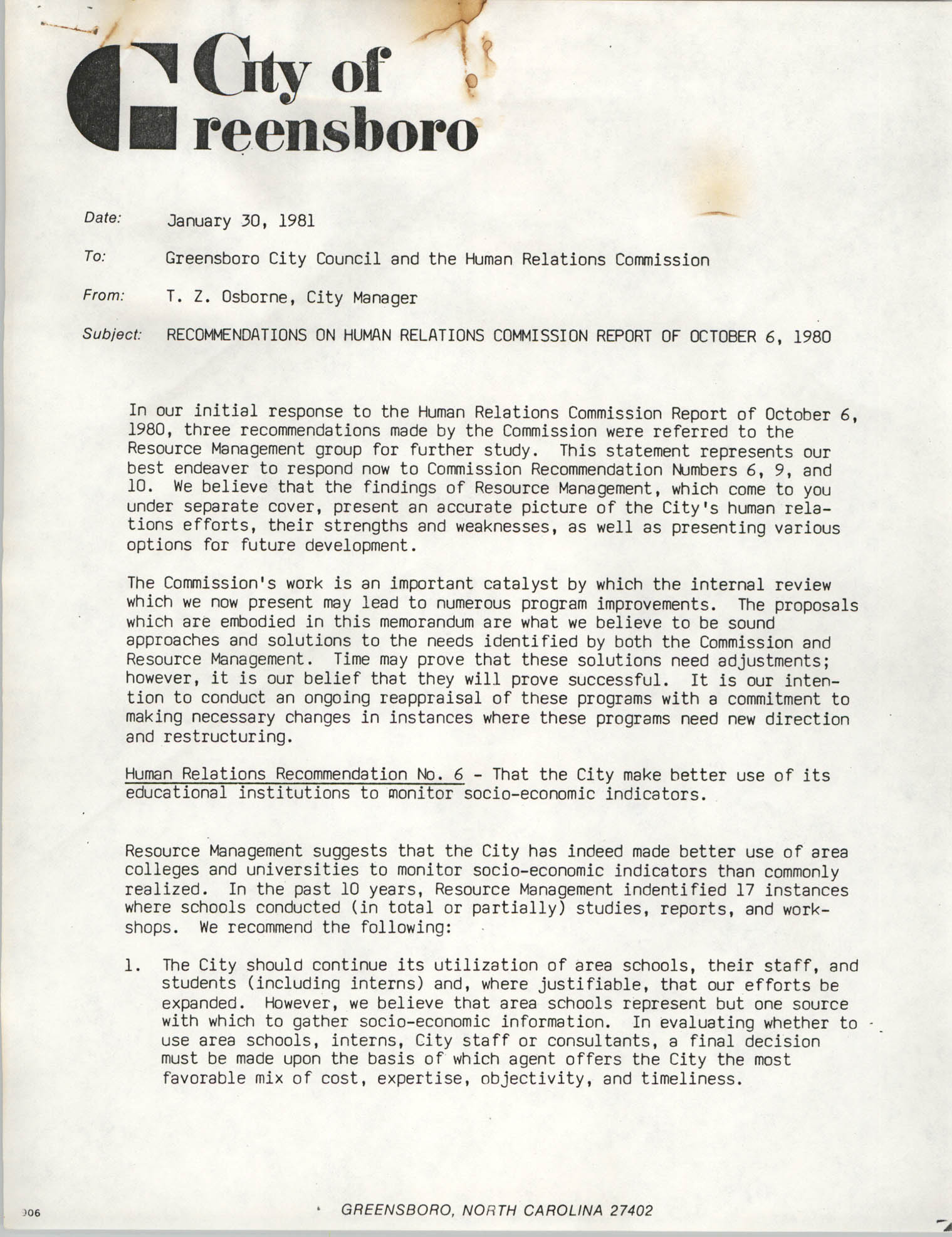 City of Greensboro Memorandum, January 30, 1981