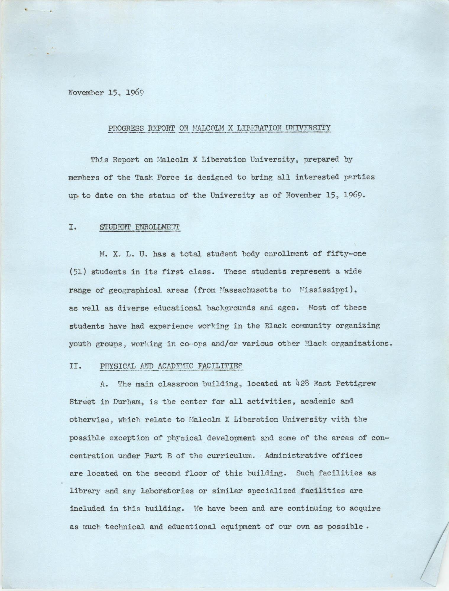 Progress Report on Malcolm X Liberation University, November 15, 1969