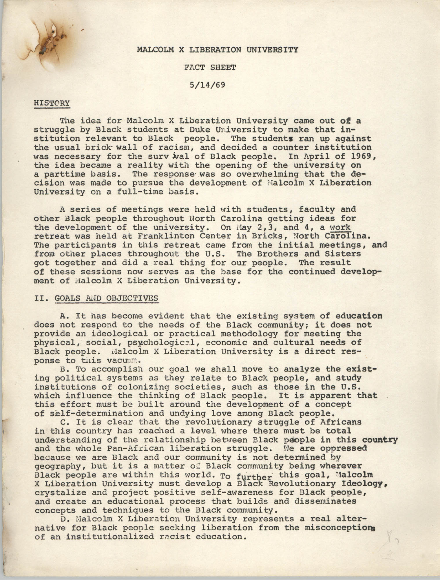 Malcolm X Liberation University Fact Sheet