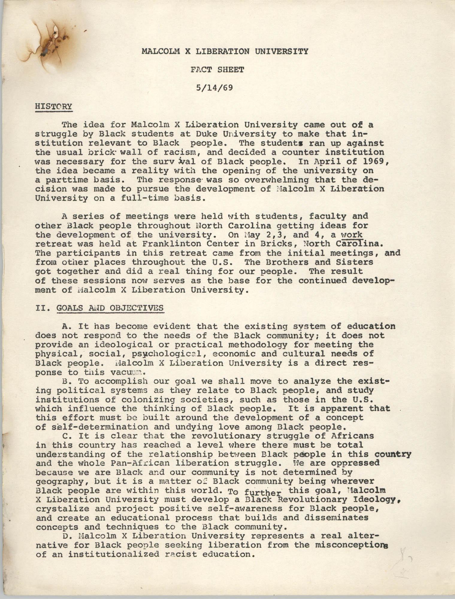 Malcolm X Liberation University Fact Sheet