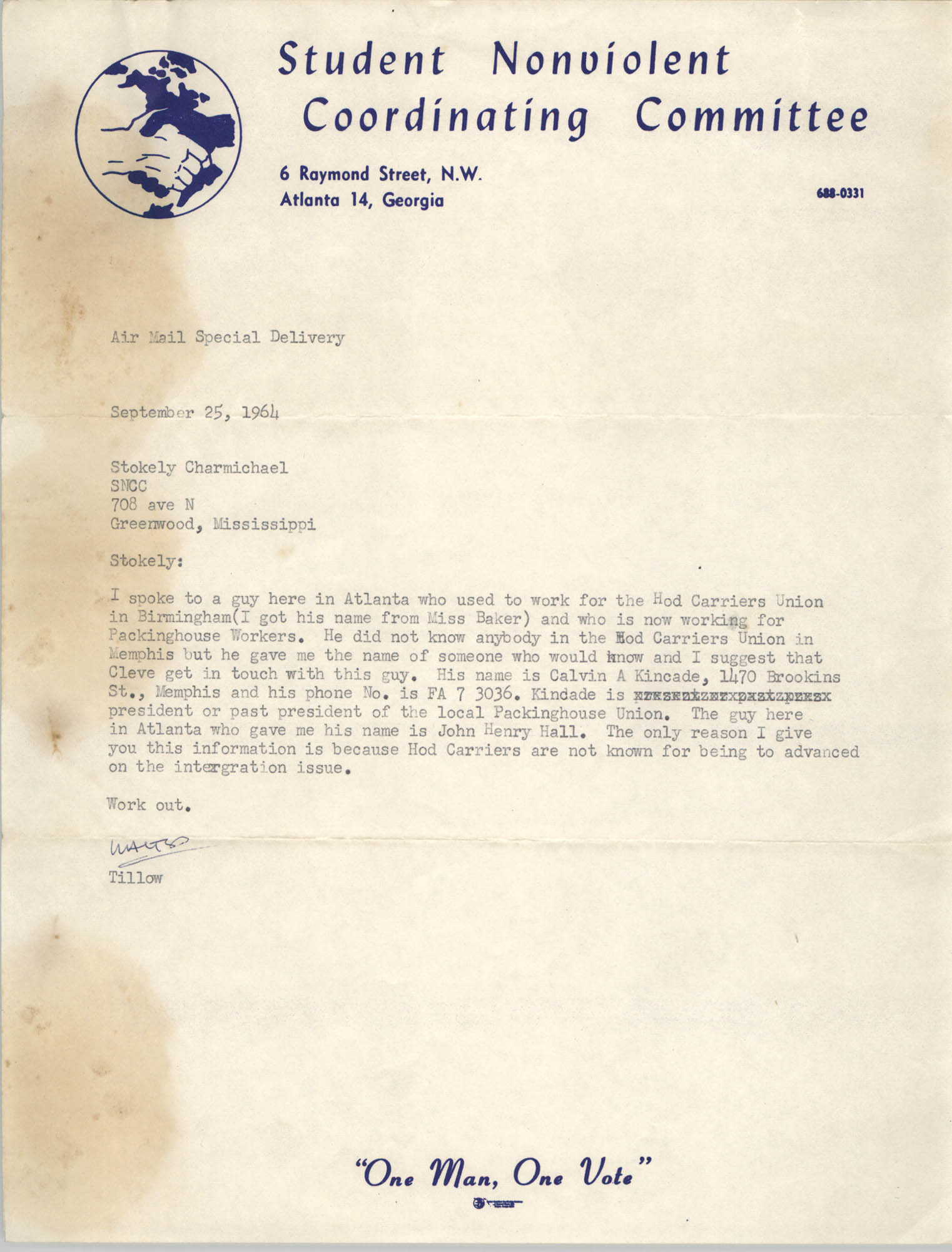 Letter from Walter Tillow to Stokely Carmichael, September 25, 1964