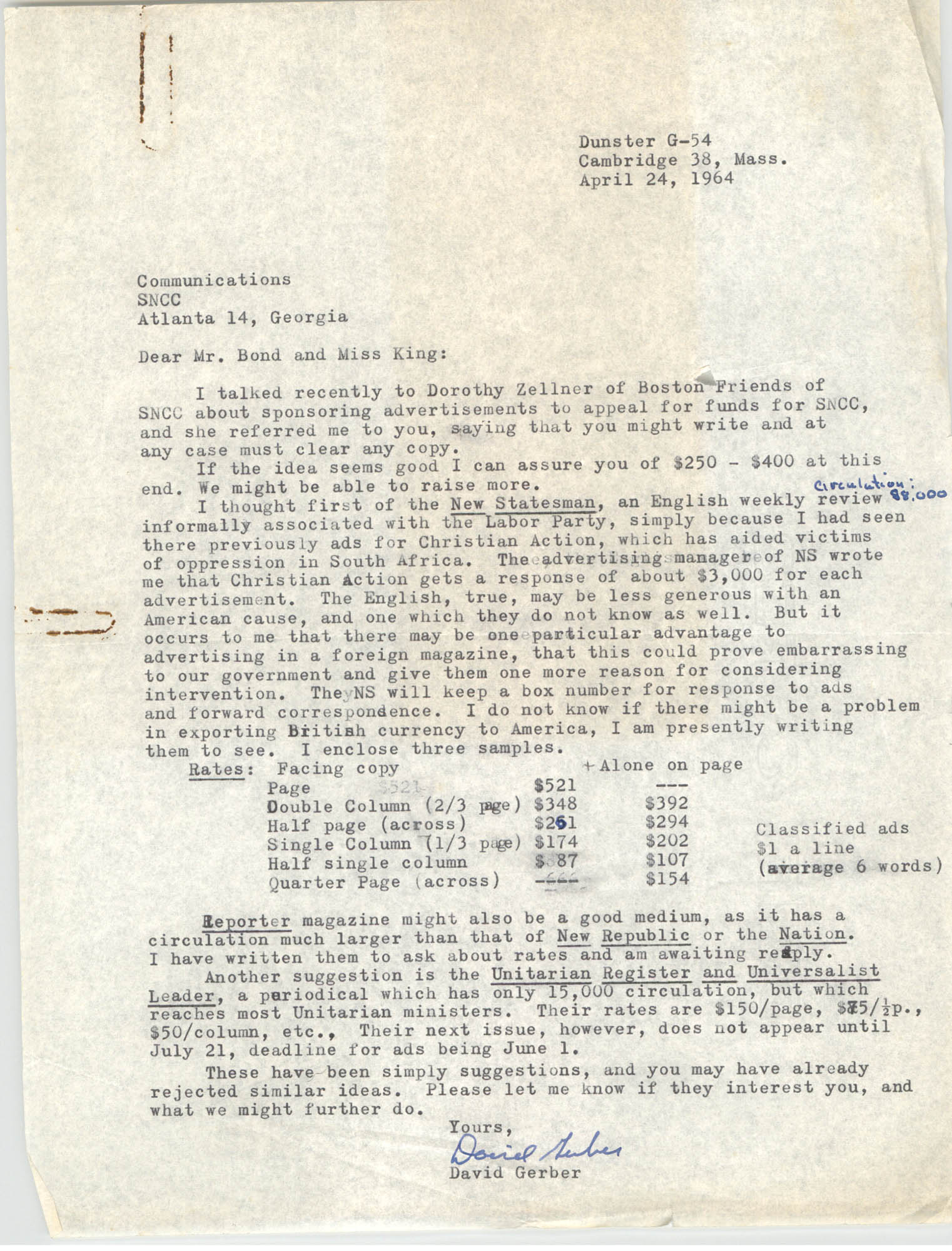 Letter from David Gerber to Julian Bond and Mary E. King, April 24, 1964