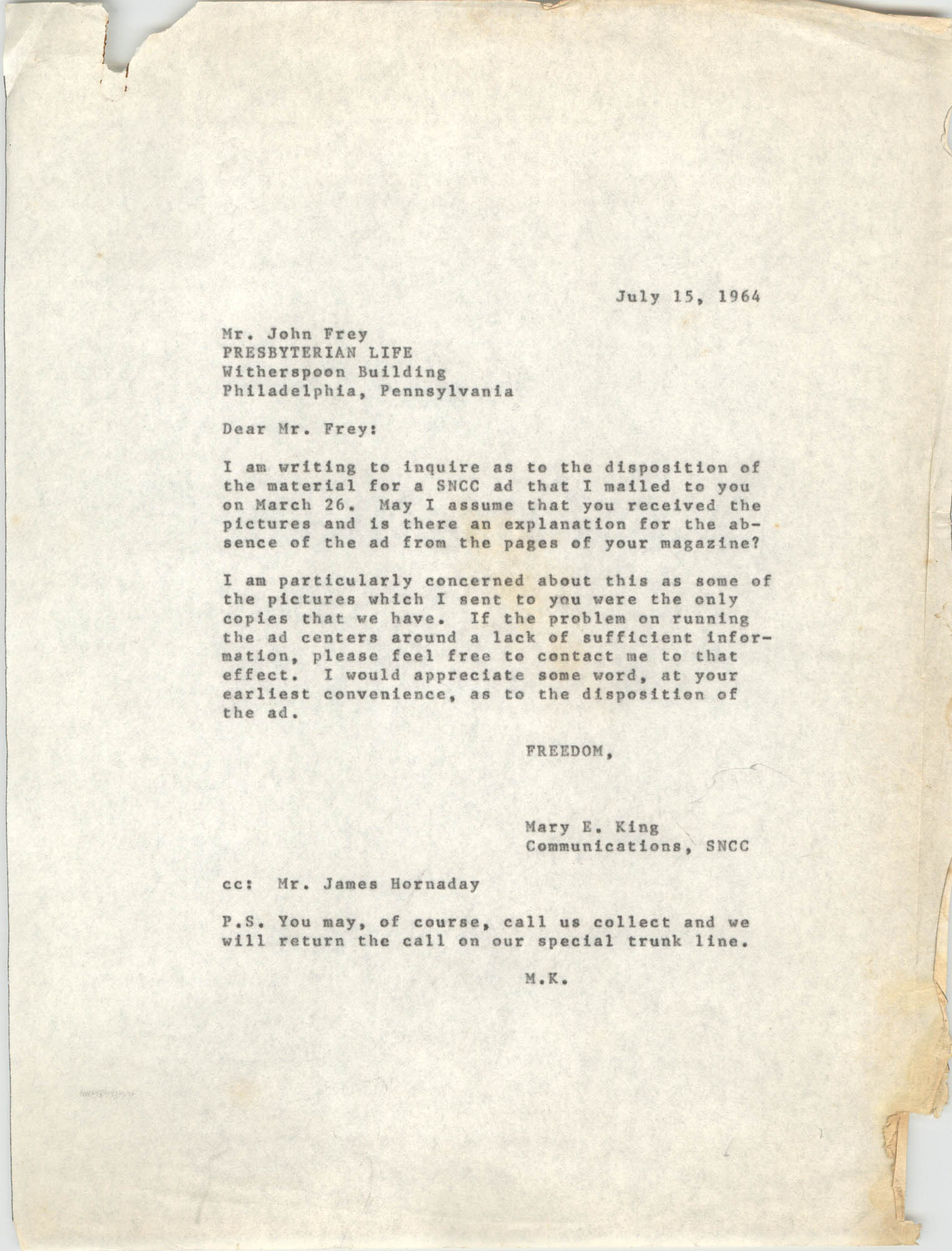 Letter from Mary E. King to John Frey, July 15, 1964