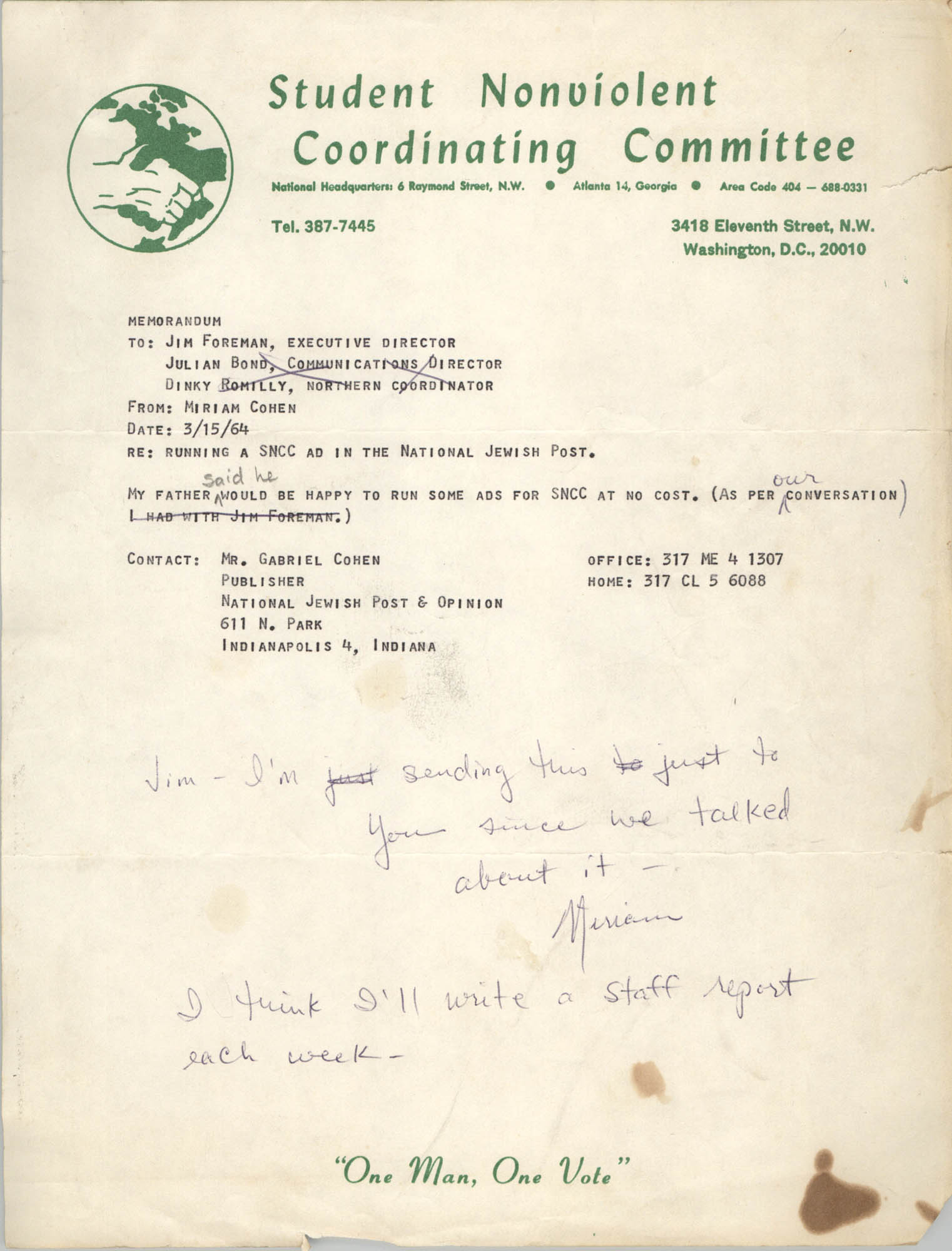 Memorandum from Miriam Cohen to Jim Foreman, March 15, 1964