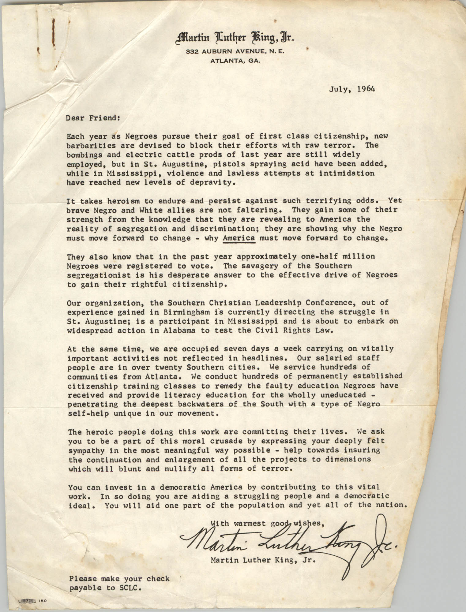 Letter from Martin Luther King, Jr. to Friends of Southern Christian Leadership Conference, July 1964