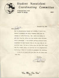Letter from Walter Tillow to Cleveland Sellers, November 29, 1964