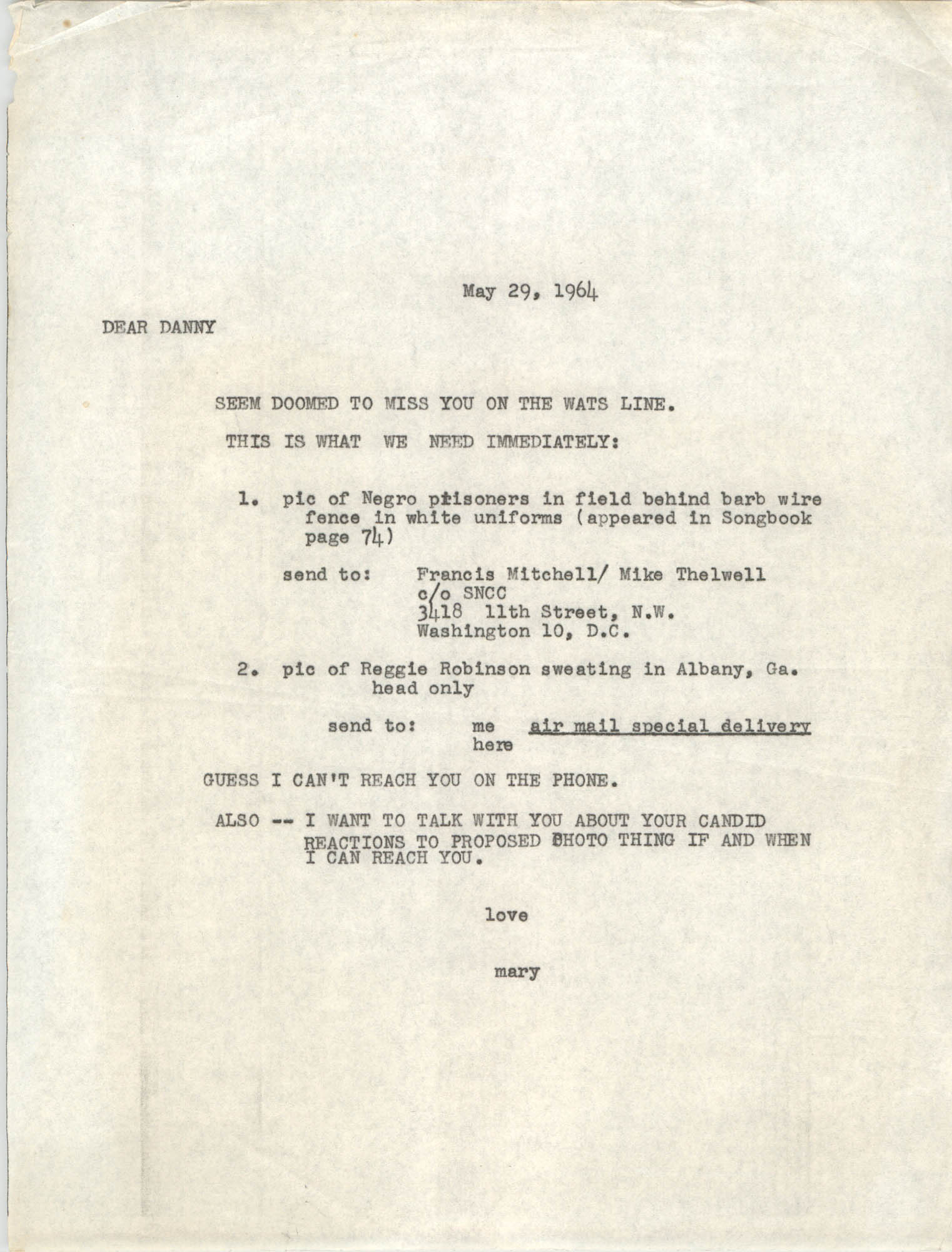 Letter from Mary E. King to