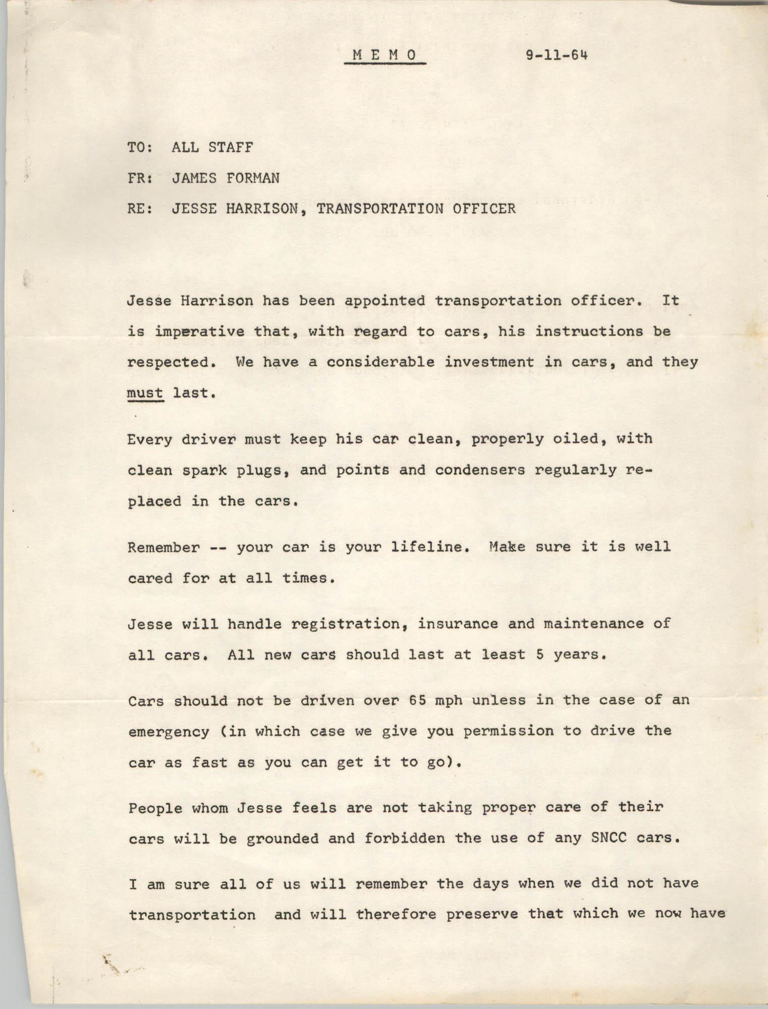 Memorandum from James Forman to All Staff, September 11, 1964