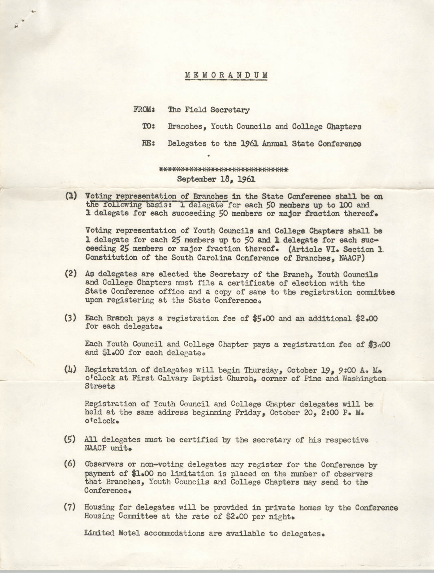 NAACP Memorandum, September 18, 1961