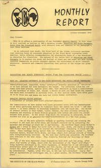 The Institute of the Black World Monthly, October-November 1973