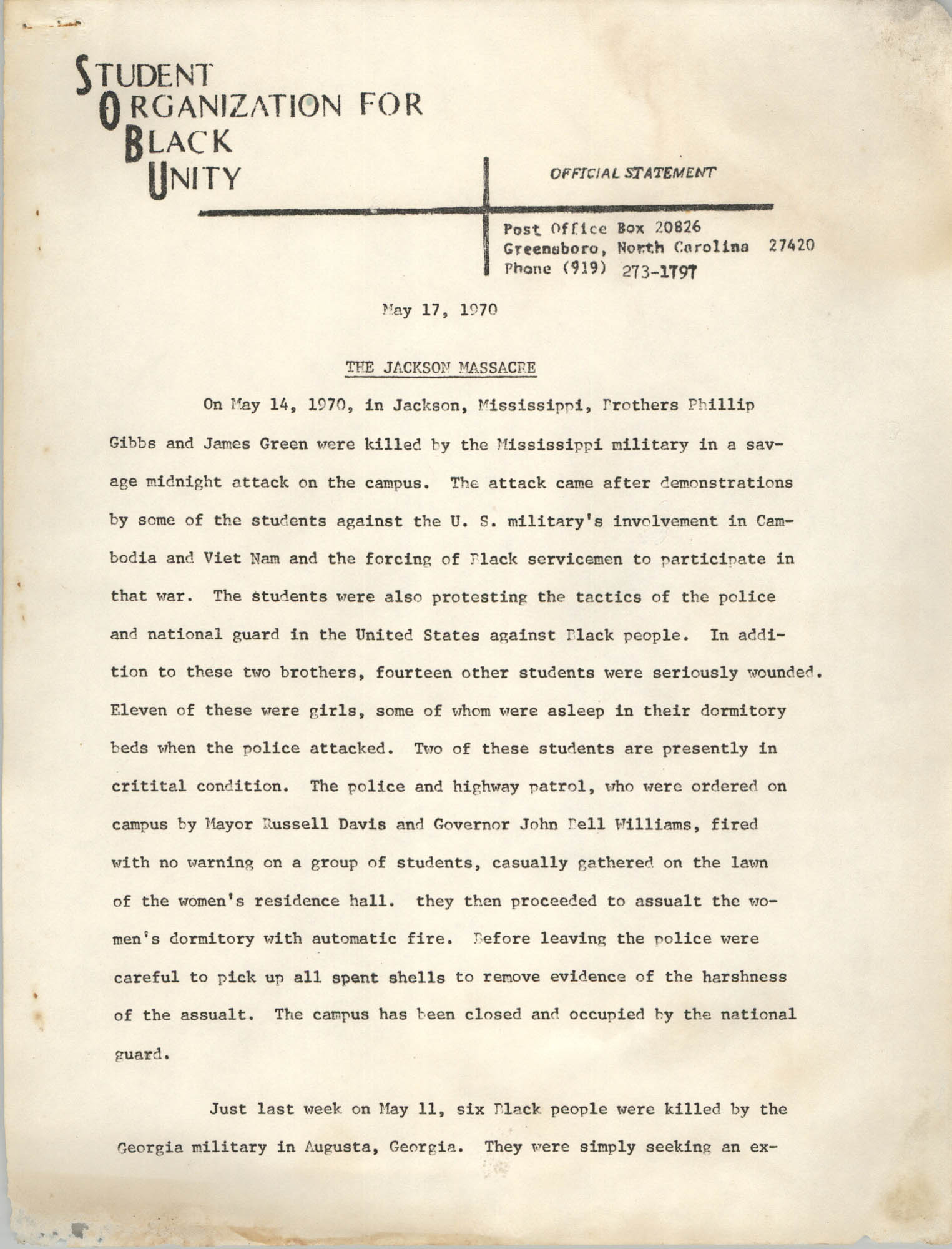 Official Statement, May 17, 1970