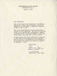 Letter from Gordon M. Tiffany (Commission on Civil Rights) to Representative L. Mendel Rivers, August 4, 1959
