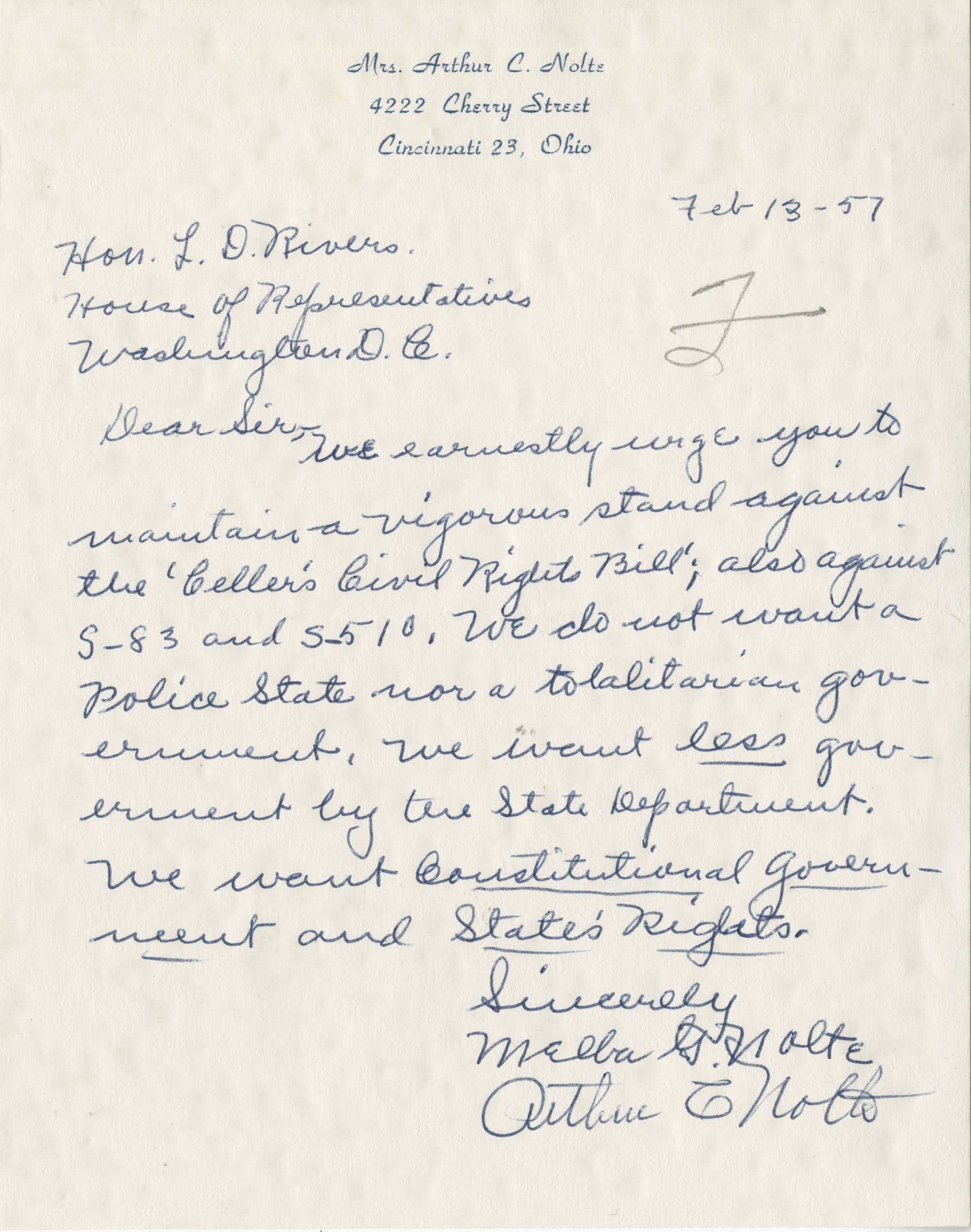 Letter from Mr. and Mrs. Nolte to Representative L. Mendel Rivers, Feburary 13, 1957