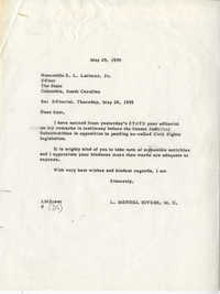 Letter from Representative L. Mendel Rivers to The State Editor S. L. Latimer, Jr., May 29, 1959