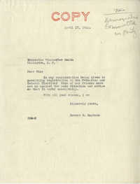 Democratic Committee: Letter from Senator Burnet R. Maybank to Winchester Smith, April 17, 1944