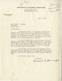 Democratic Committee: Letter from Robert E. Hannegan (Chairman of the Democratic National Committee) to Senator Burnet R. Maybank, June 17, 1944