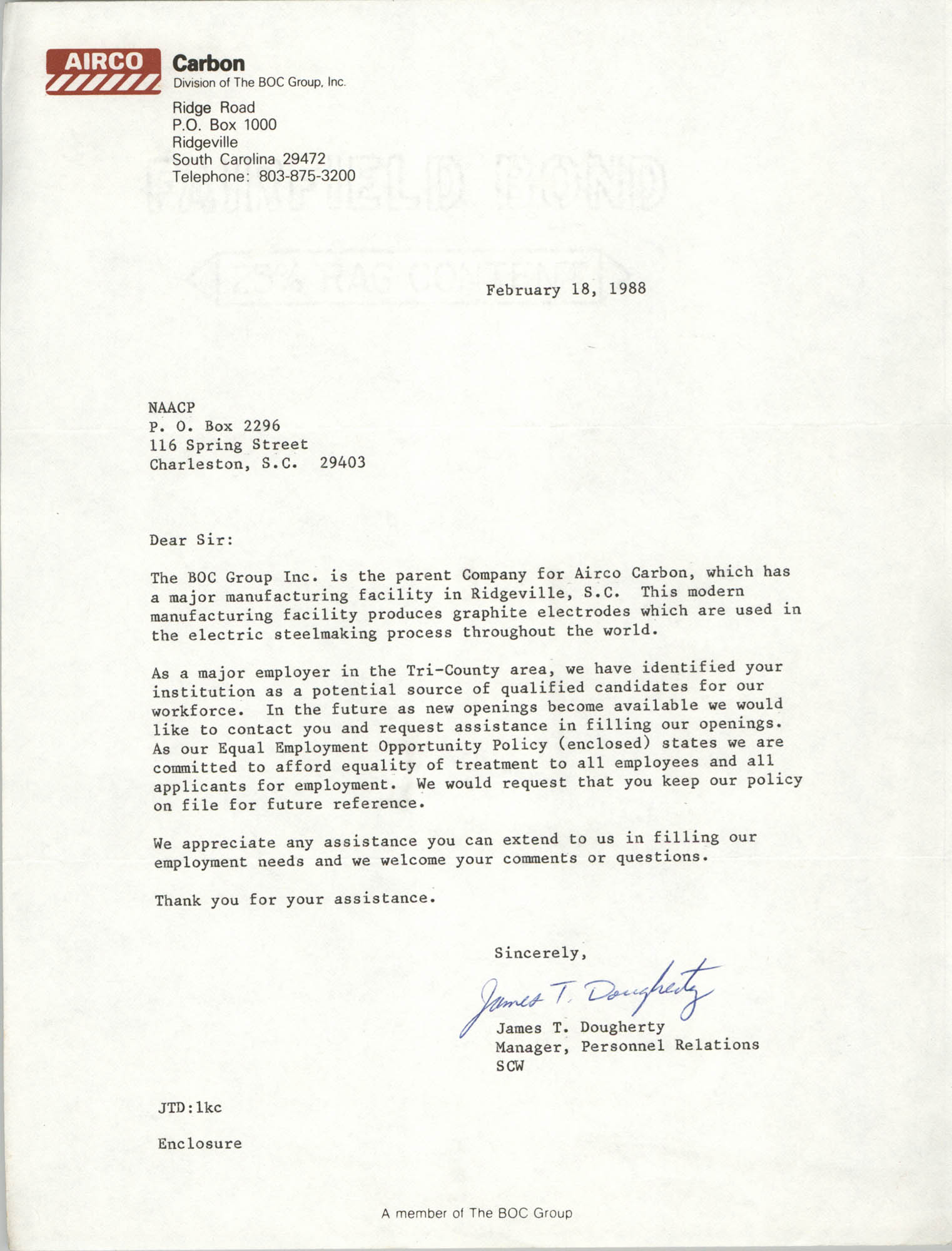 Letter from James T. Dougherty to Charleston Branch of the NAACP, February 18, 1988