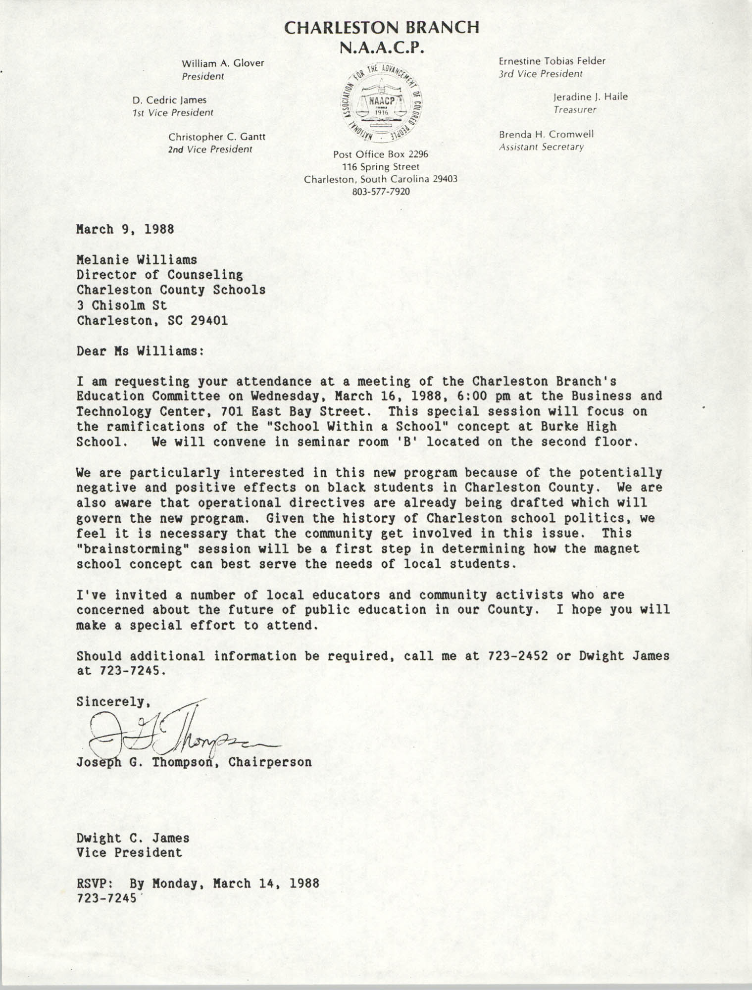 Letter from Joseph G. Thompson to Melanie Williams, March 9, 1988