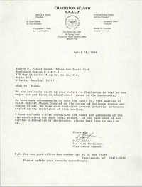 Letter from D. C. James to Audrey C. Fisher-Brown, April 18, 1988