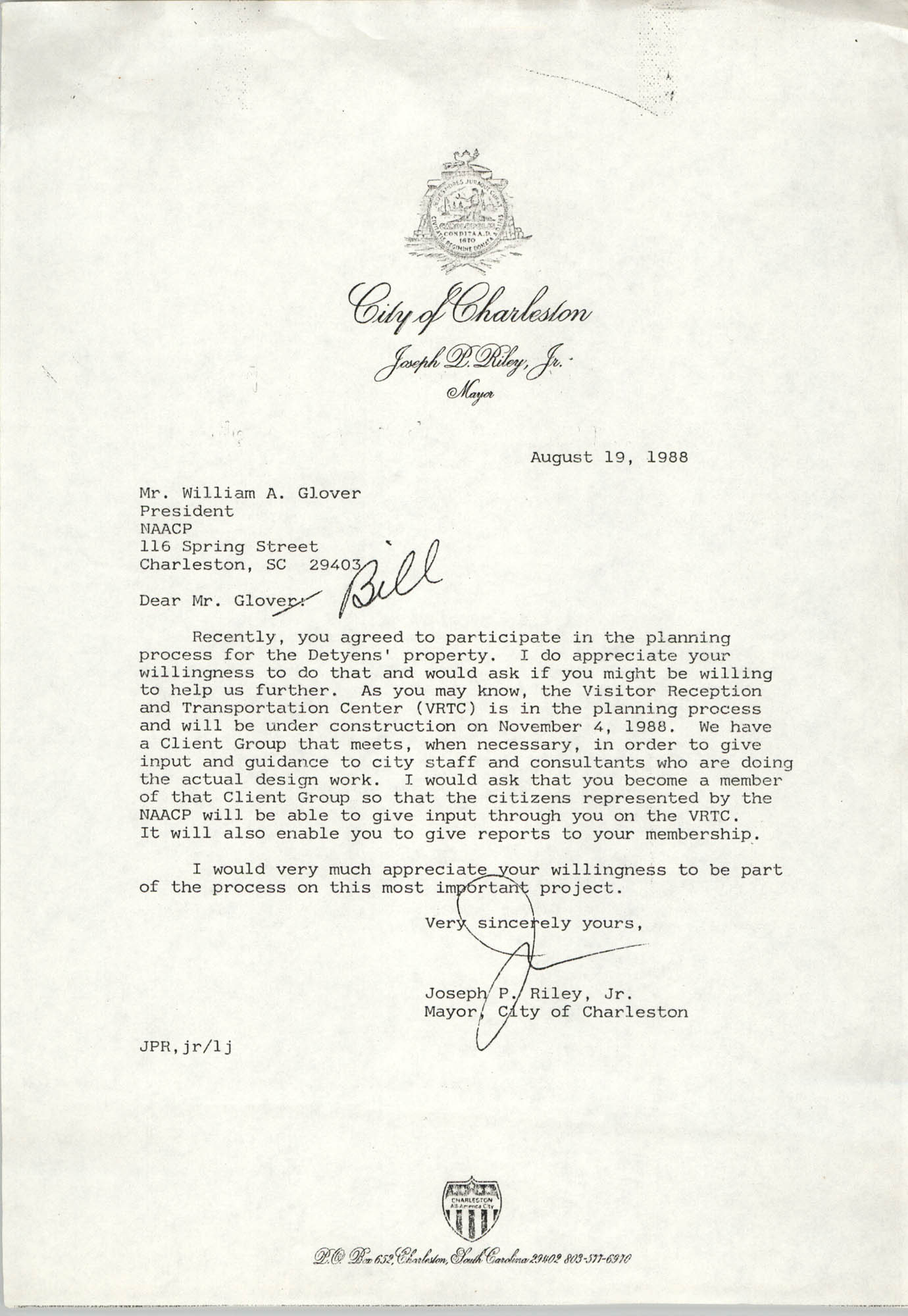 Letter from Joseph P. Riley, Jr. to William A. Glover, August 19, 1988