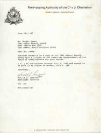 Letter from Donald J. Cameron to Dwight James, June 29, 1987