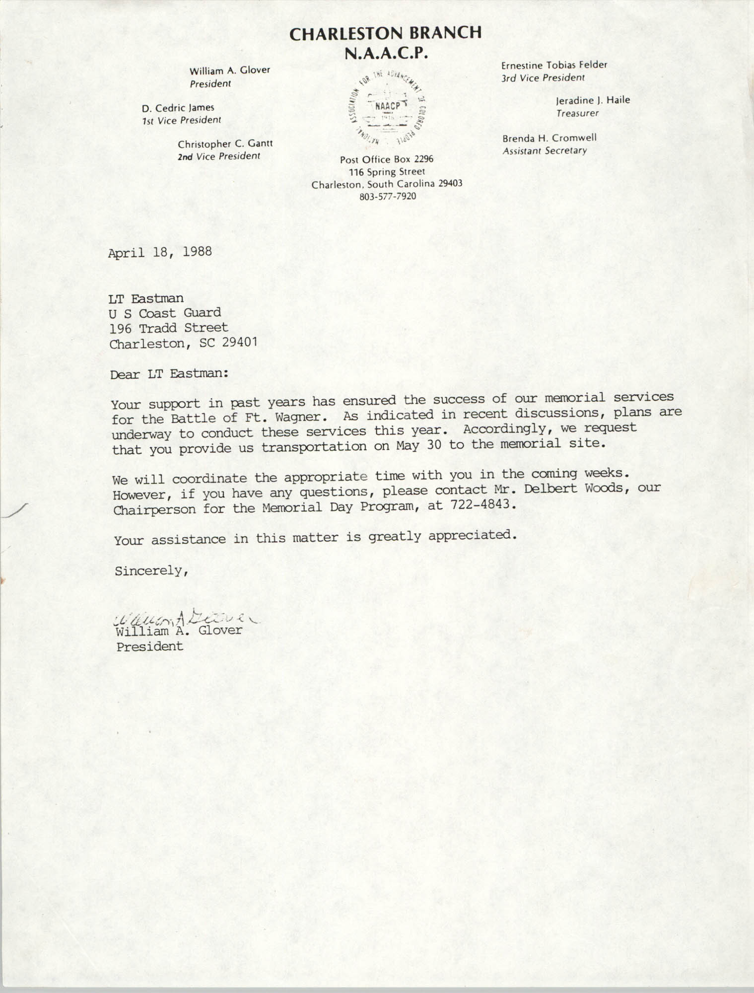 Letter from William A. Glover to LT Eastman, April 18, 1988