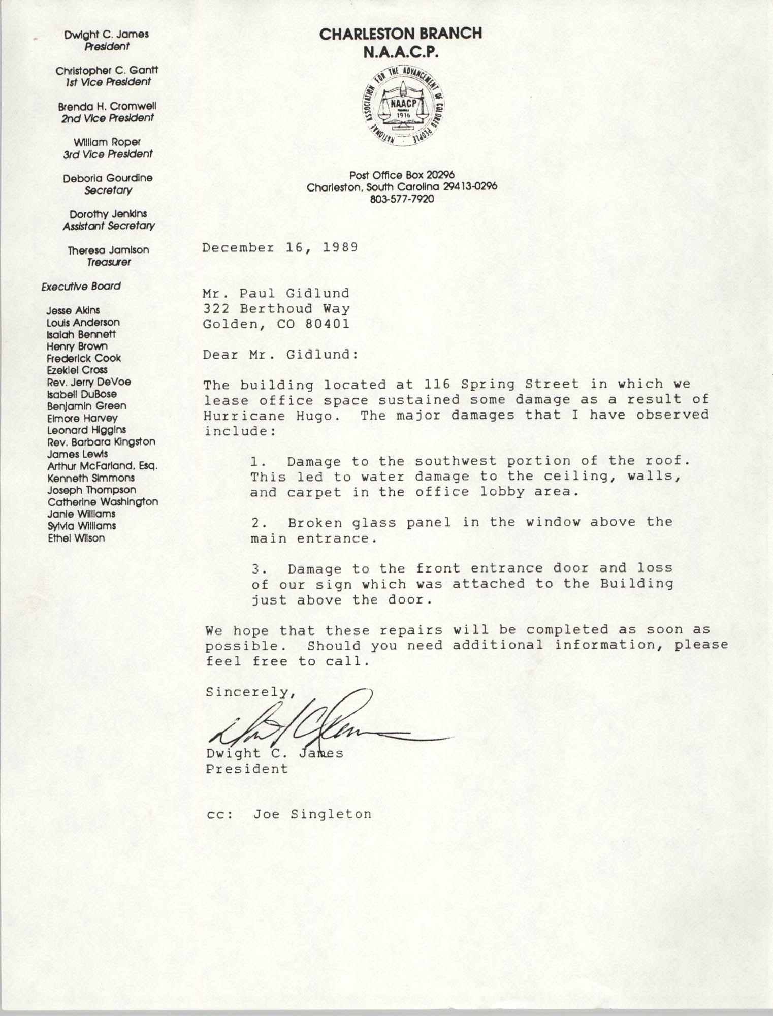 Letter from Dwight C. James to Paul Gidlund, December 16, 1989