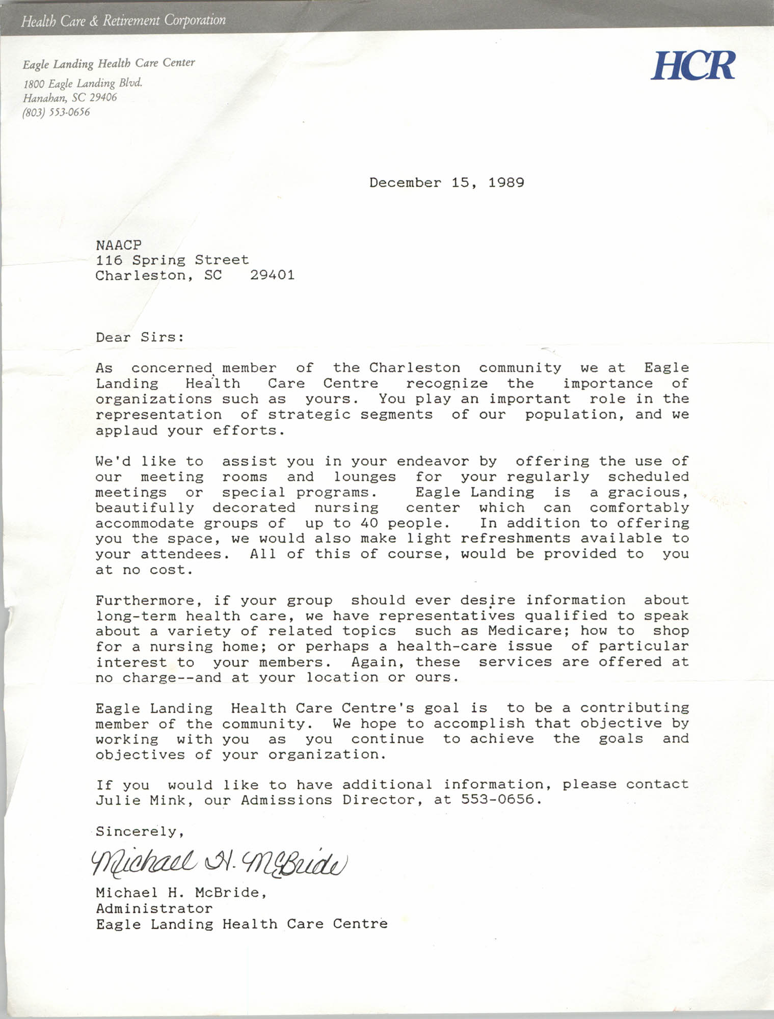 Letter from Michael H. McBride to Charleston Chapter of NAACP, December 15, 1989