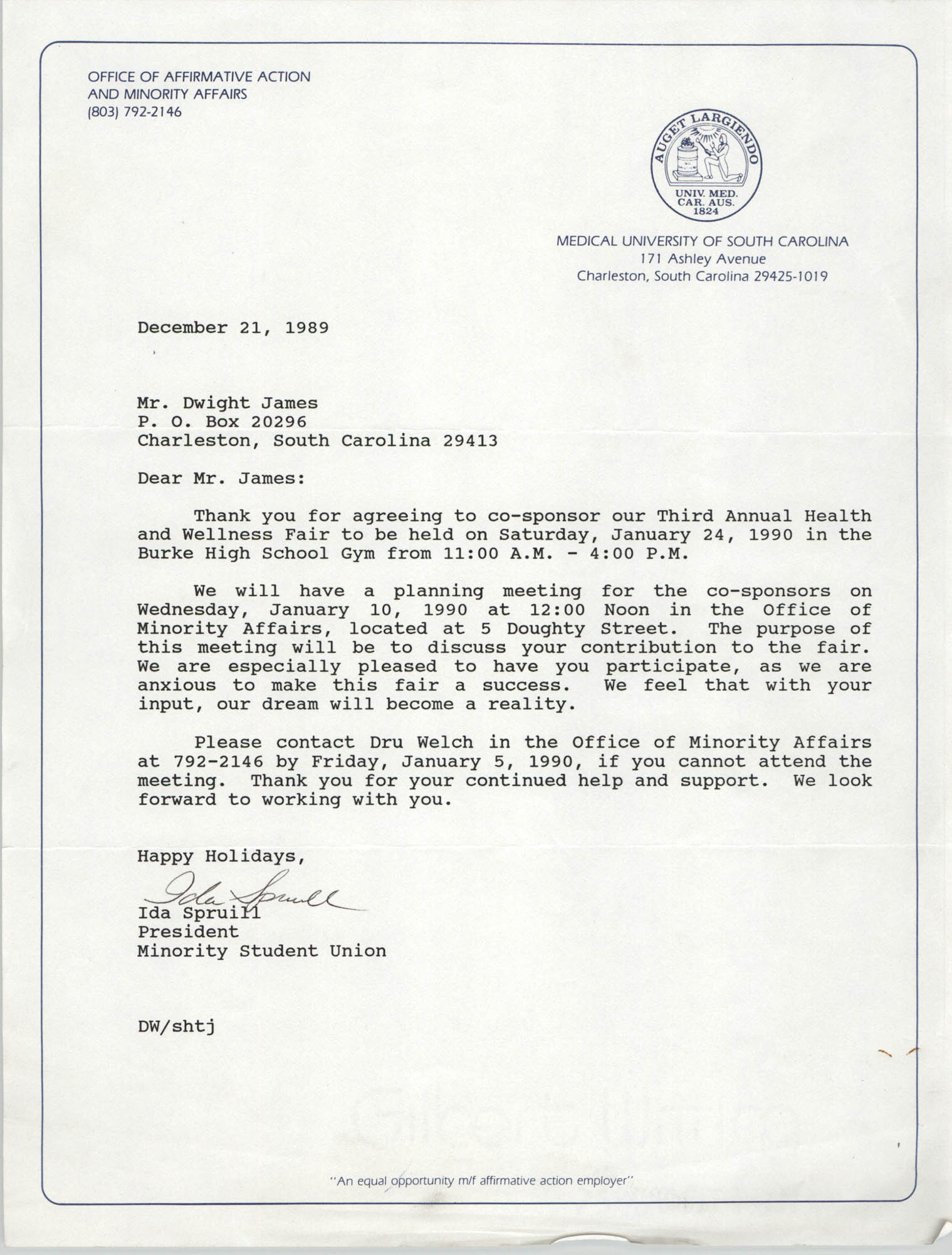 Letter from Ida Spruill to Dwight James, December 21, 1989