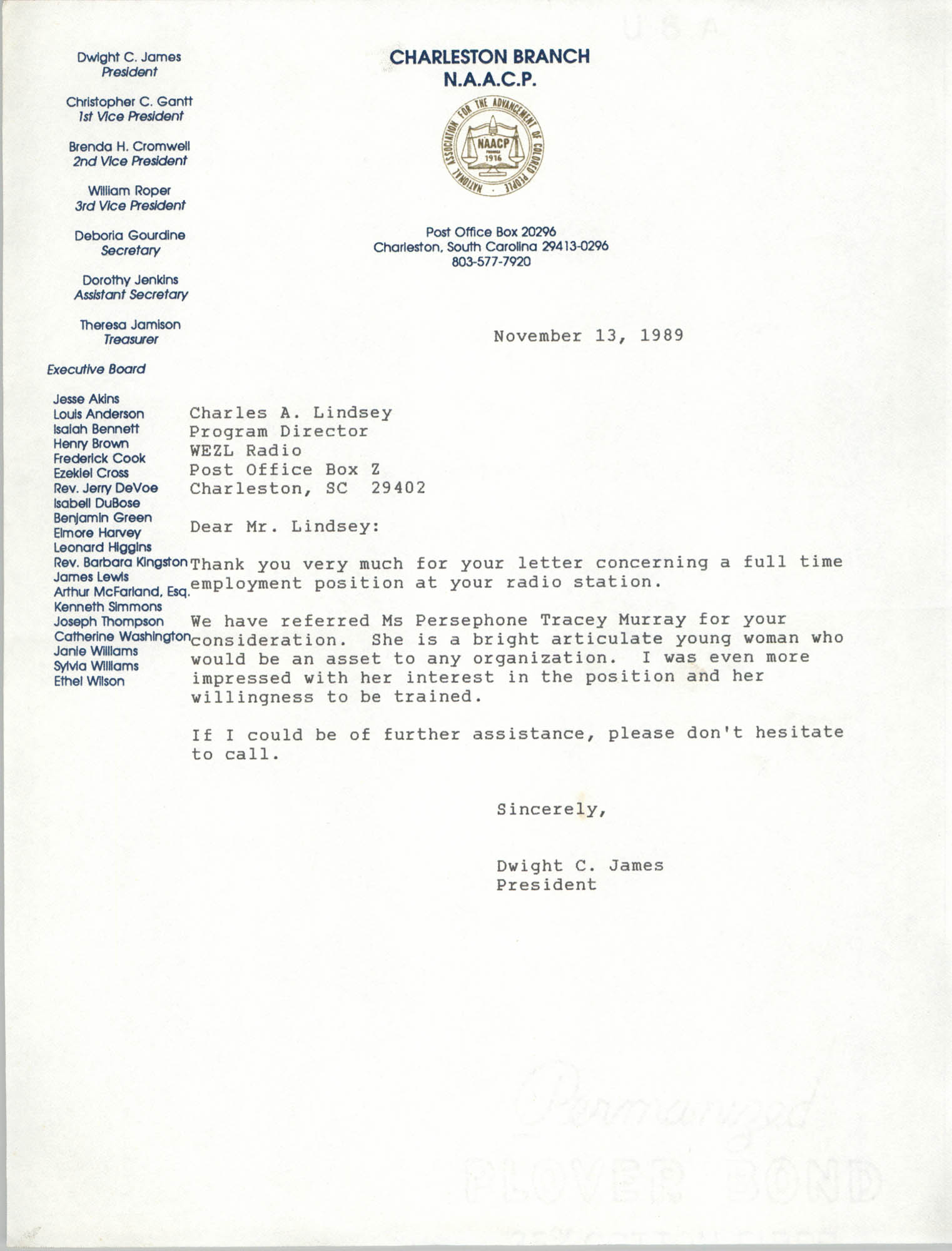 Letter from Dwight C. James to Charles A. Lindsey, November 13, 1989