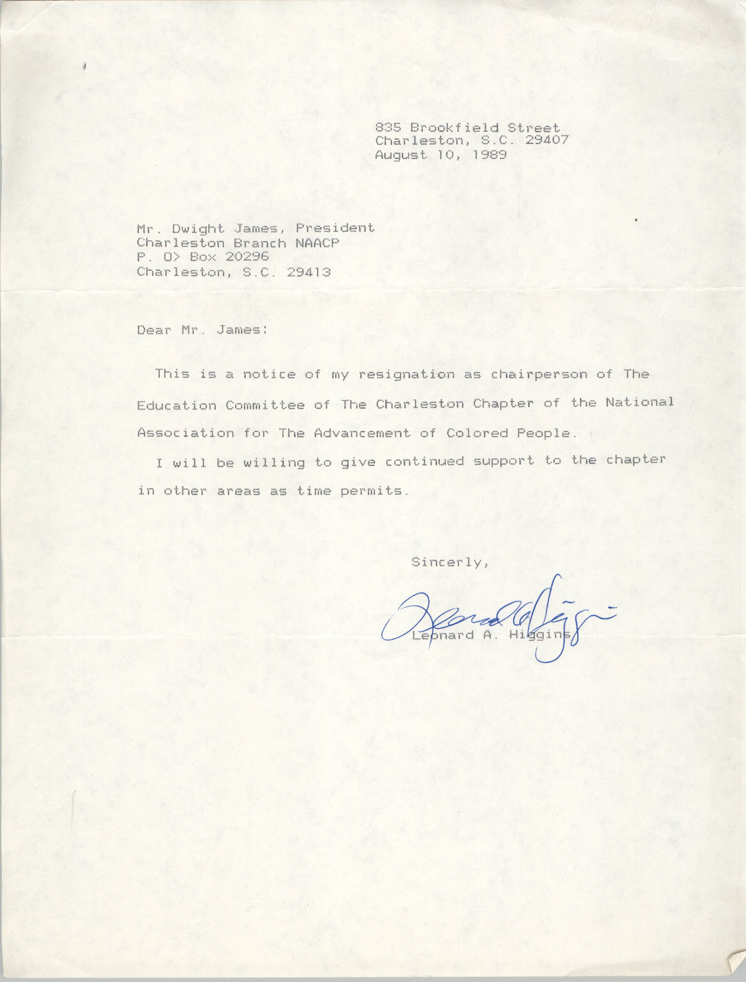 Letter from Leonard A. Higgins to Dwight James, August 10, 1989
