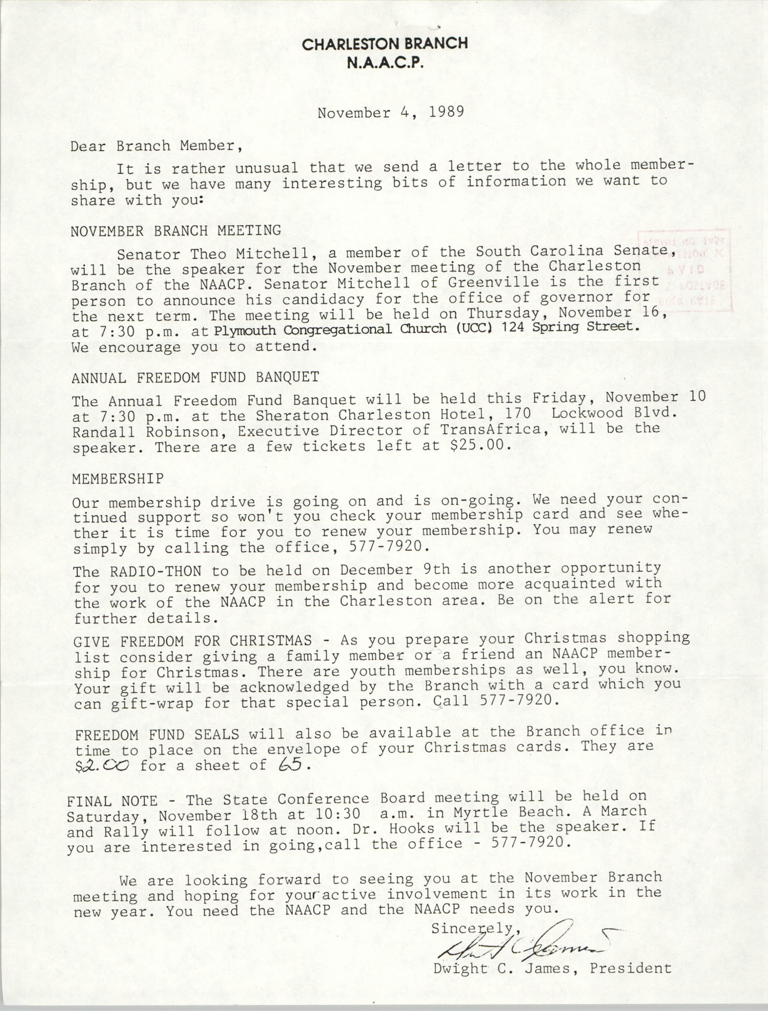 Letter from Dwight C. James to Charleston Branch of the NAACP, November 4, 1989
