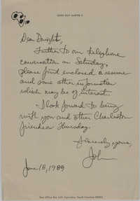 Letter from John Roy Harper, II to Dwight James, June 18, 1989