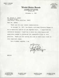 Letter from Ernest F. Hollings to Dwight C. James, November 4, 1991
