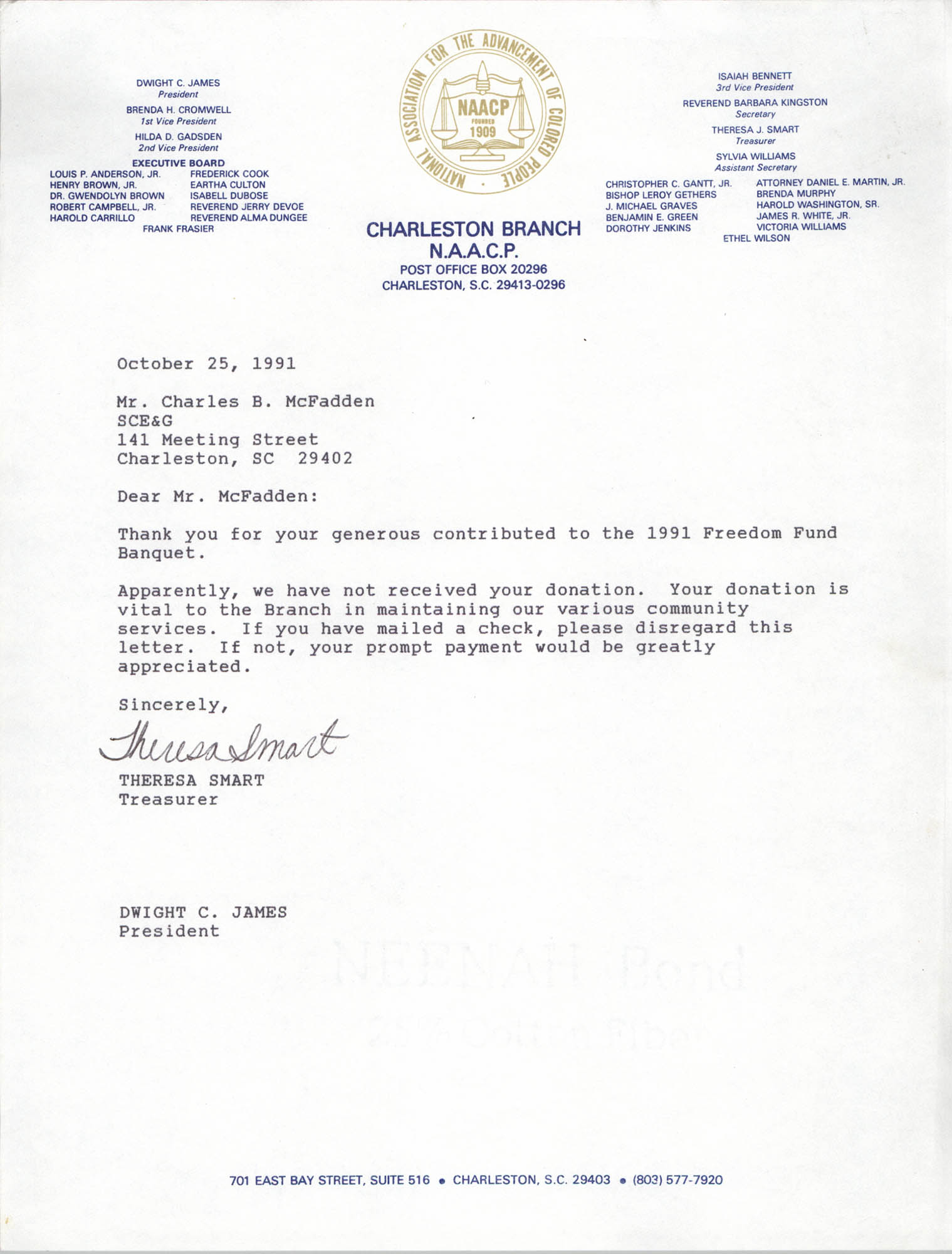 Letter from Theresa Smart and Dwight C. James to Charles B. McFadden, October 25, 1991