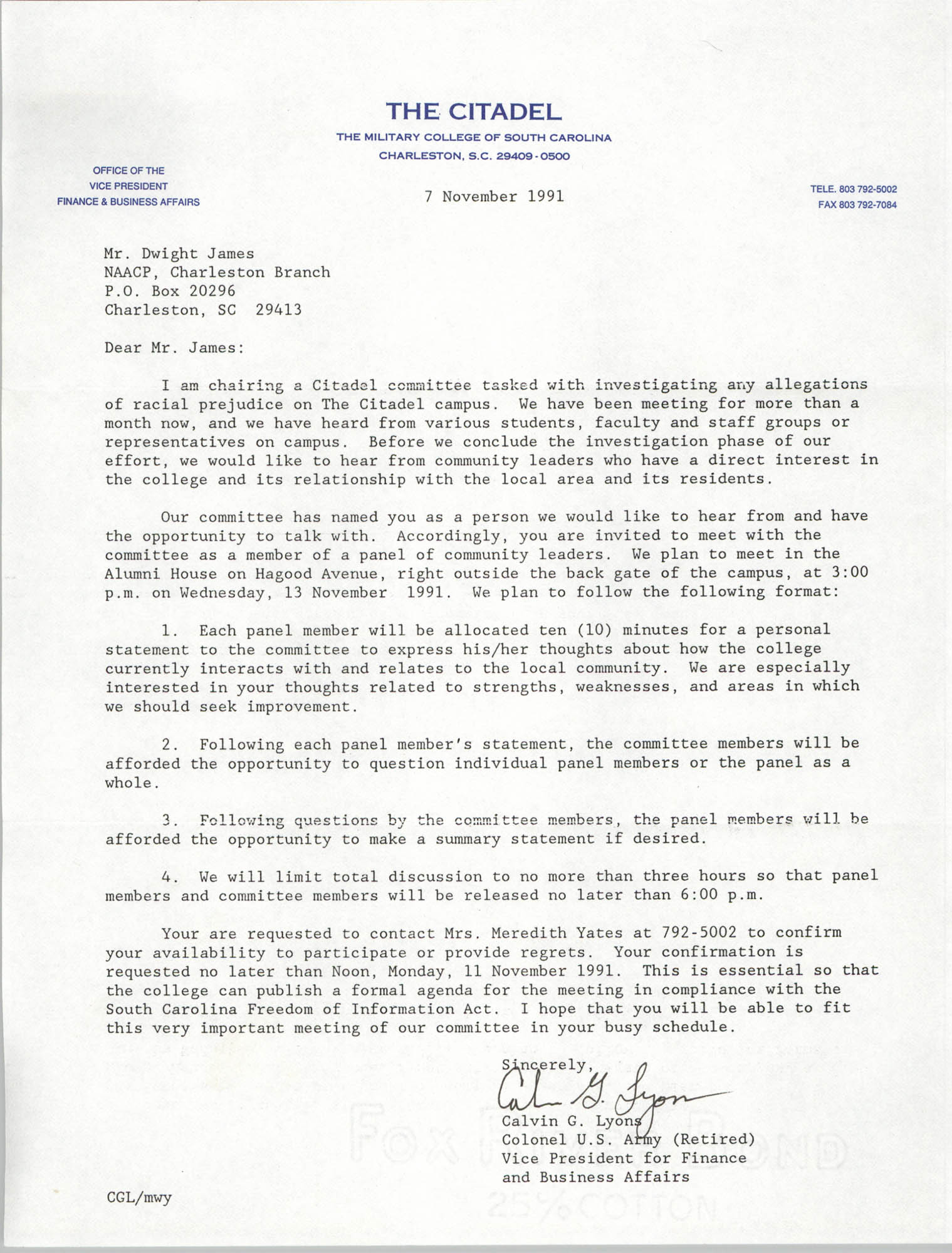 Letter from Calvin G. Lyons to Dwight James, November 7, 1991