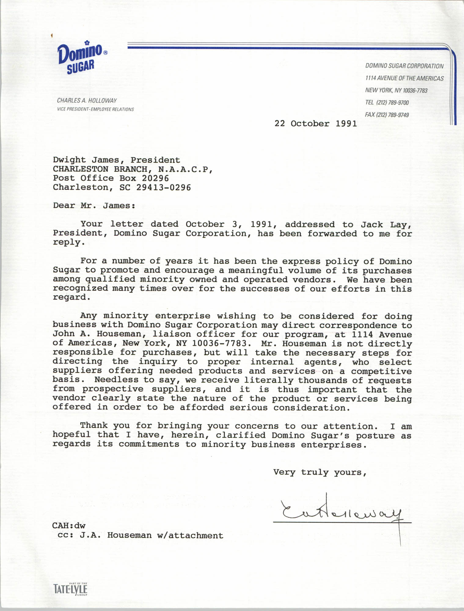 Letter from Charles A. Holloway to Dwight James, October 22, 1991