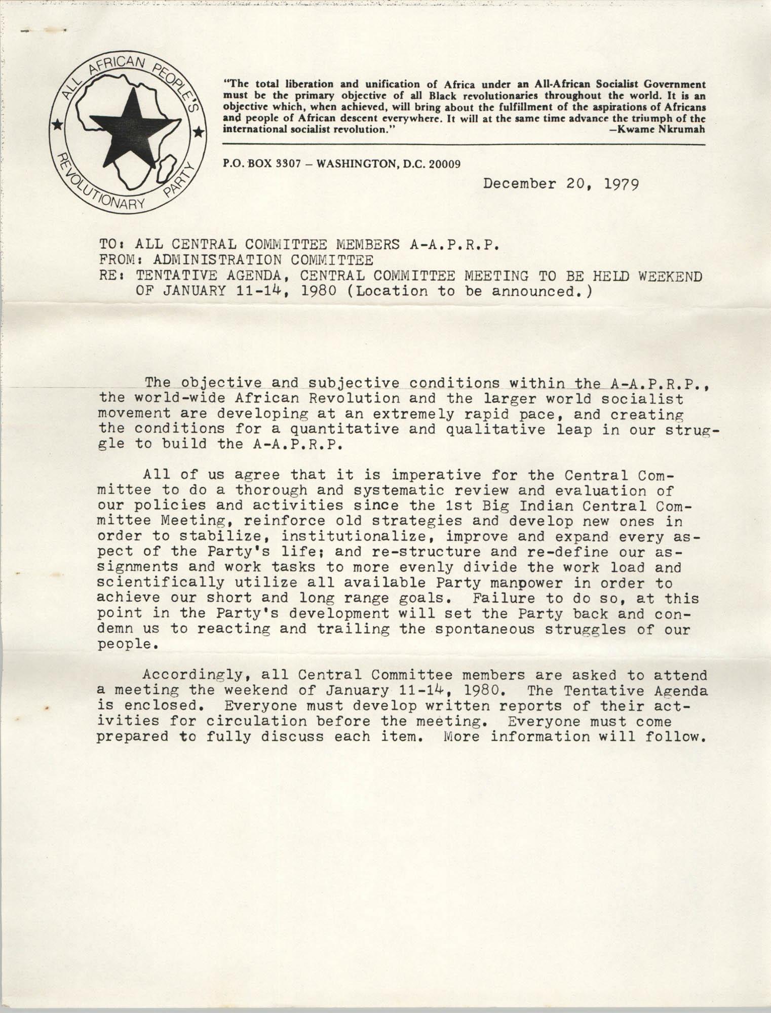 All African People's Revolutionary Party Memorandum, December 20, 1979