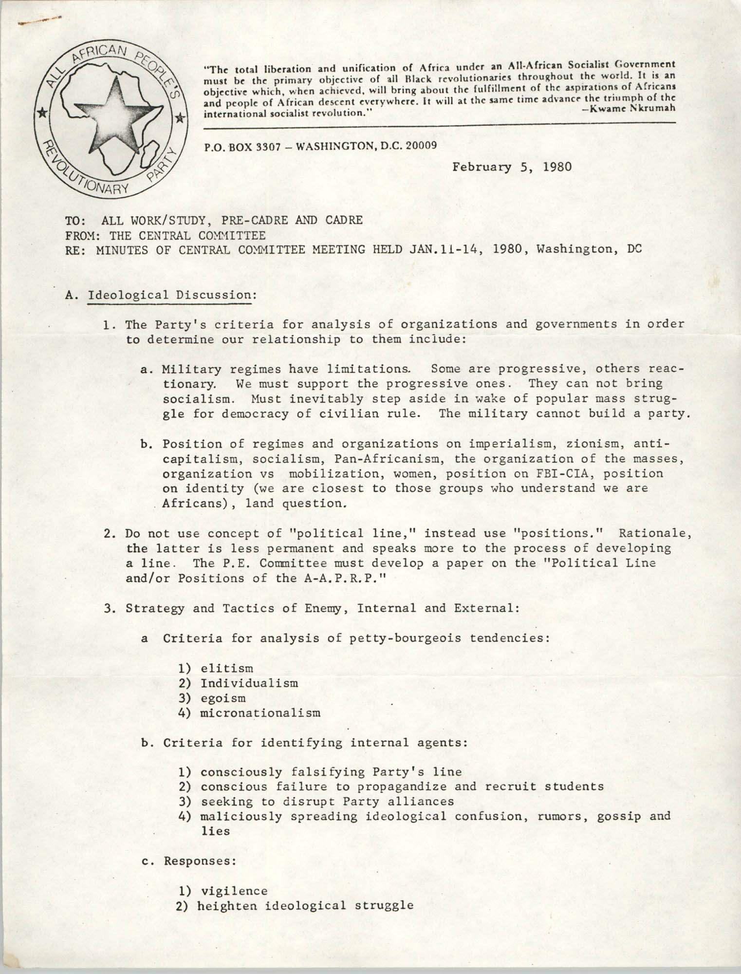 All African People's Revolutionary Party Memorandum, February 5, 1980