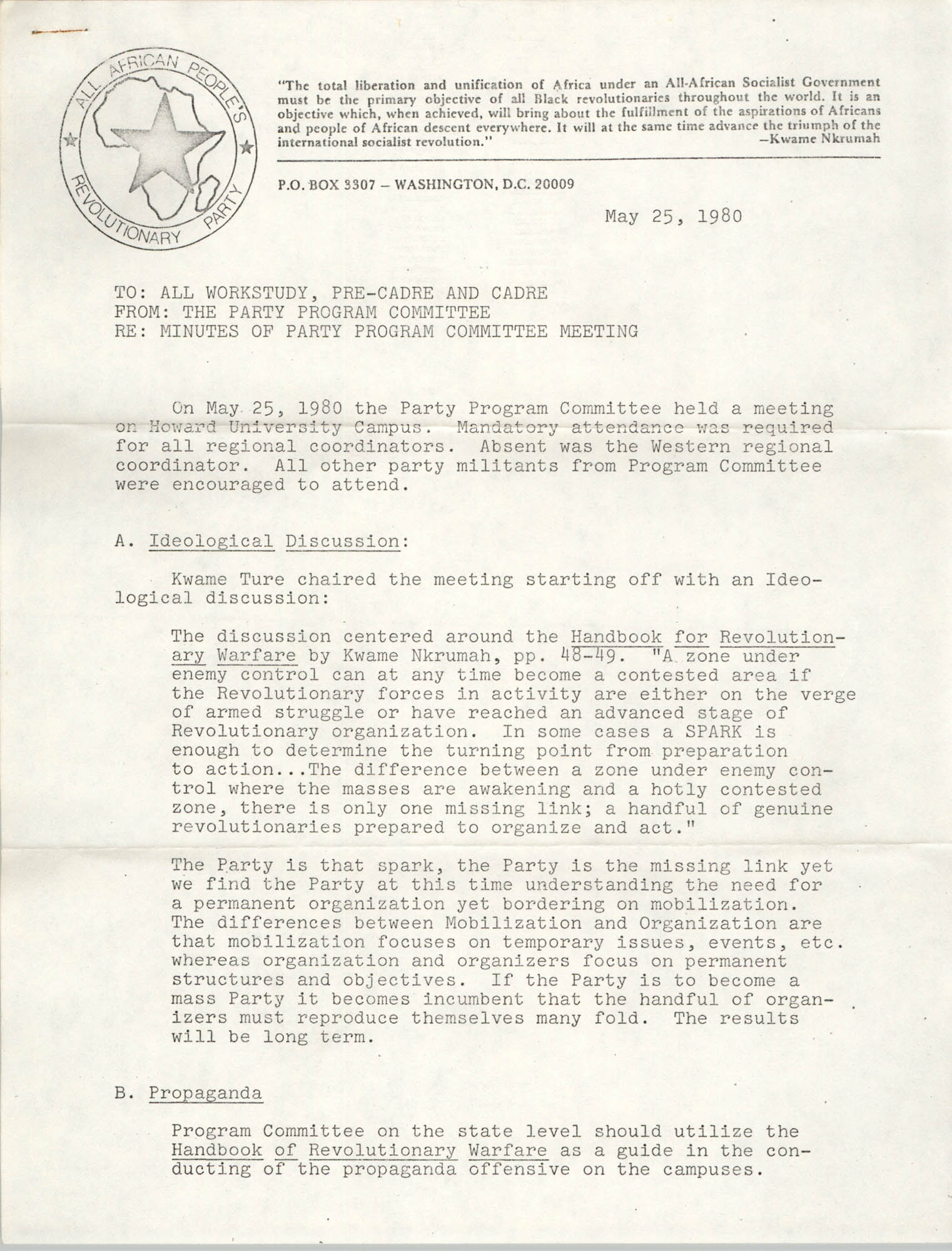 All African People's Revolutionary Party Memorandum, May 25, 1980