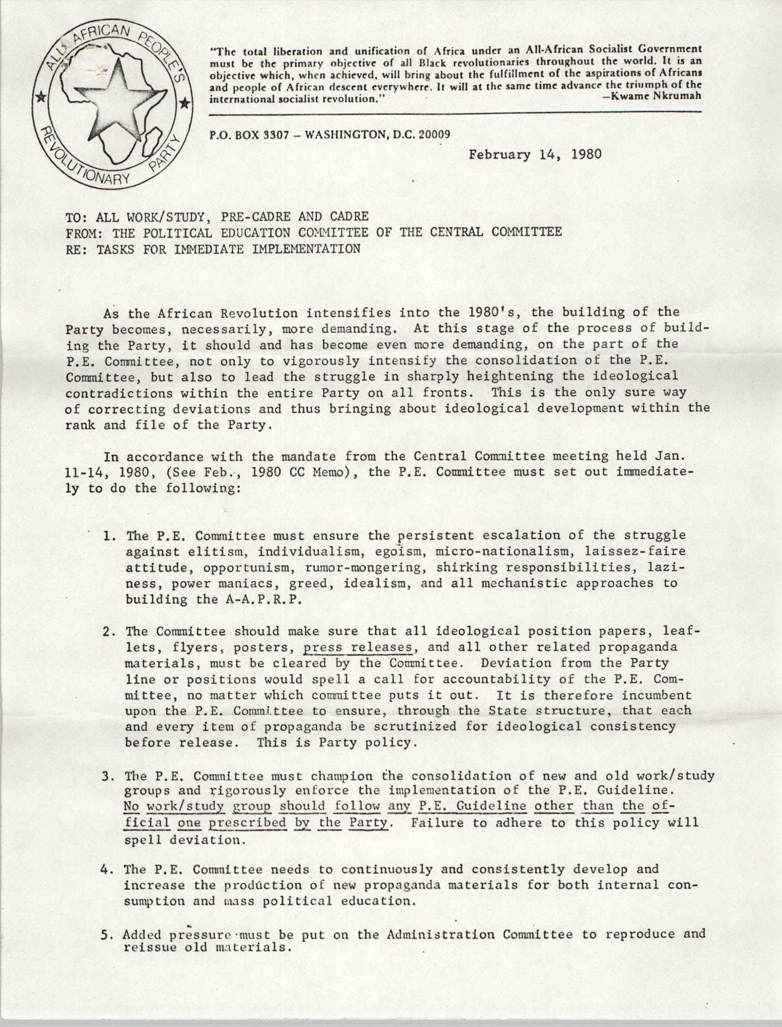 All African People's Revolutionary Party Memorandum, February 14, 1980
